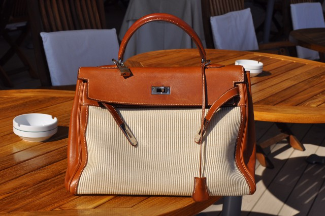 Kelly bag in lino e pelle barenia Edoardo Alaimo
