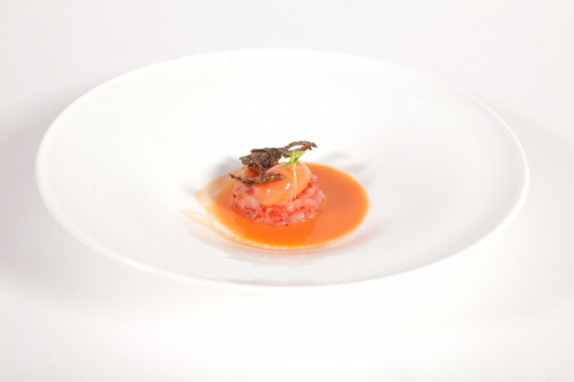 Carlo Scotto - Red prawns tartare with gazpacho, tomato and basil sorbet, Quinoa cracker