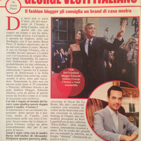 "<!--:it--> ""Ora"" magazine -Edoardo speaks about Clooney wedding 29/09/2014<!--:-->"