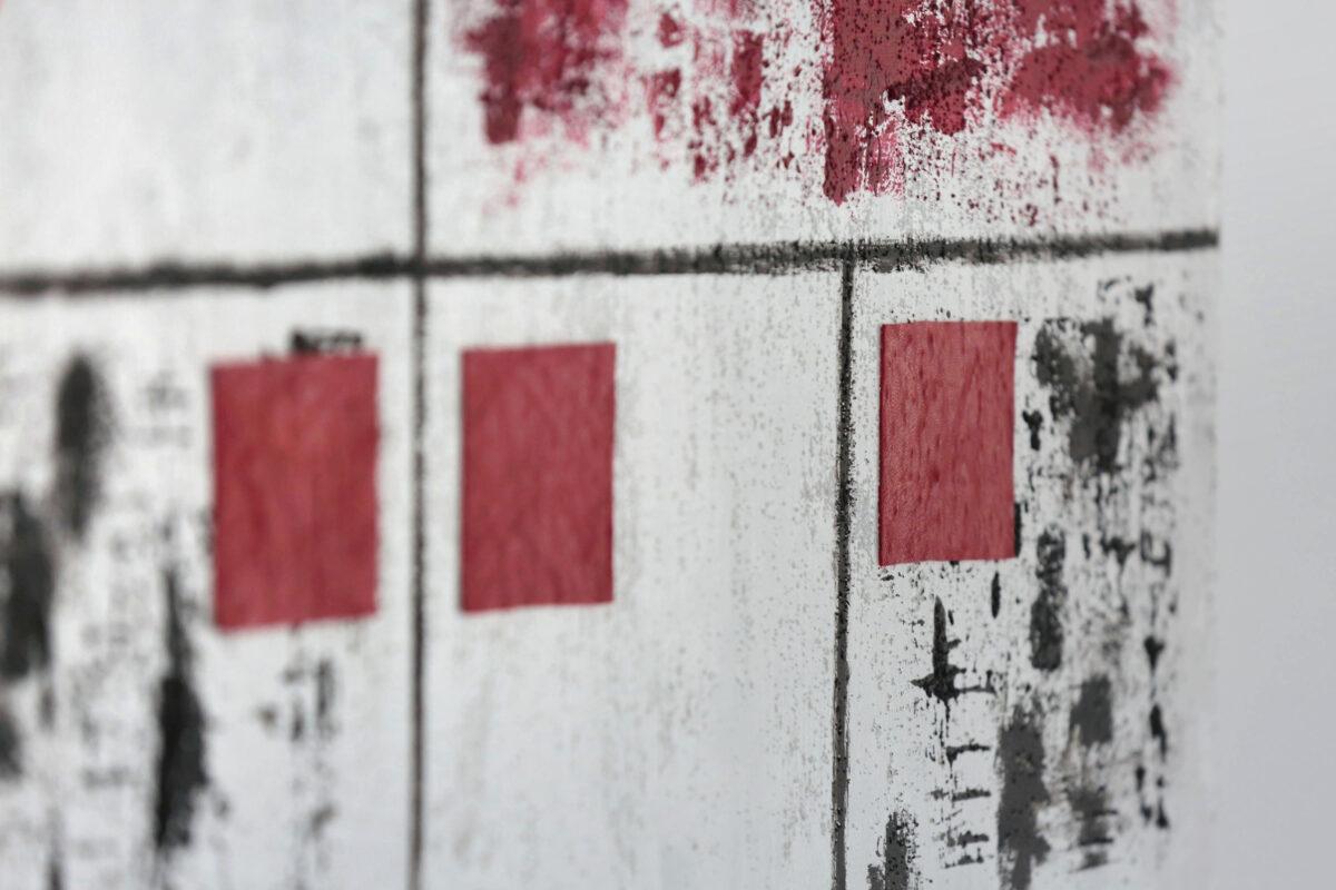 _Edoardo_Alaimo_Letizia_Lo_Monaco_quadro_arte_contemporanea_acrilico_e_pelle_rosso_e_nero
